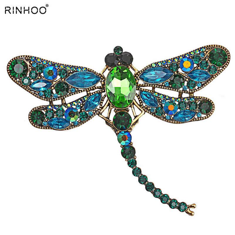 Vintage tasarım parlak kristal Rhinestone Dragonfly broş kadınlar için elbise eşarp broş Pins takı aksesuarları hediye