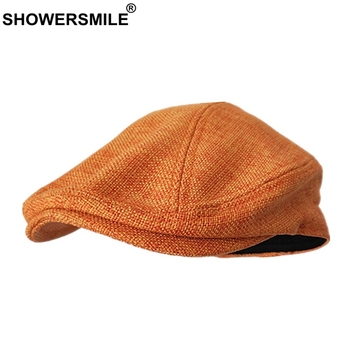 SHOWERSMILE Berets Caps For Women Orange Cotton Linen Flat Men Classic Solid Colorful Duckbill Cap Summer Unisex Retro Hats