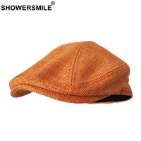 SHOWERSMILE Berets Caps For Women Orange Cotton Linen Flat Caps Men Classic Solid Colorful Duckbill Cap Summer Unisex Retro Hats