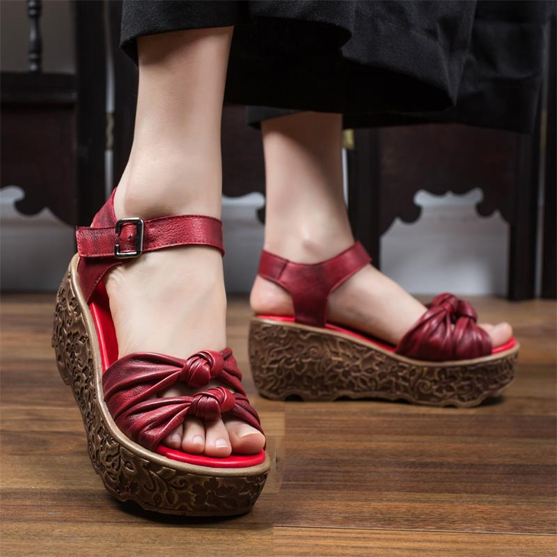 ZUZHIXIU-Hot selling,2018 new real leather lady's sandals, pure handmade national style top grade soft leather shoes,2 colors