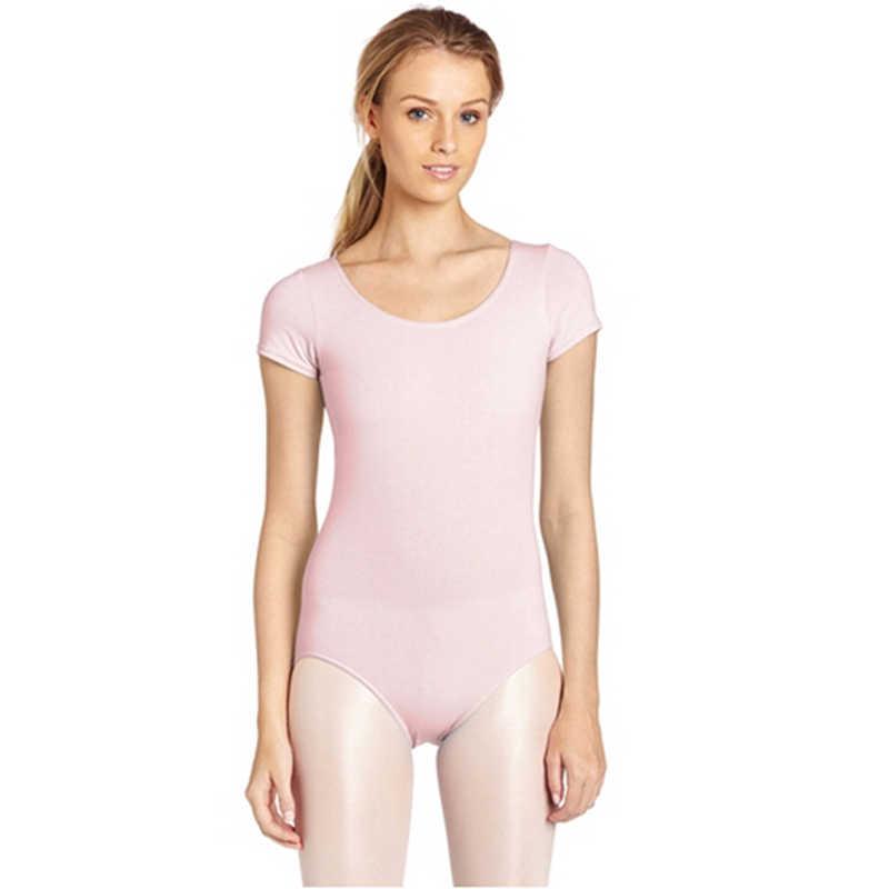 Женская гимнастика для взрослых с коротким рукавом балетные и гимнастические трико женские боди эластичные черные Unitard танцевальная одежда