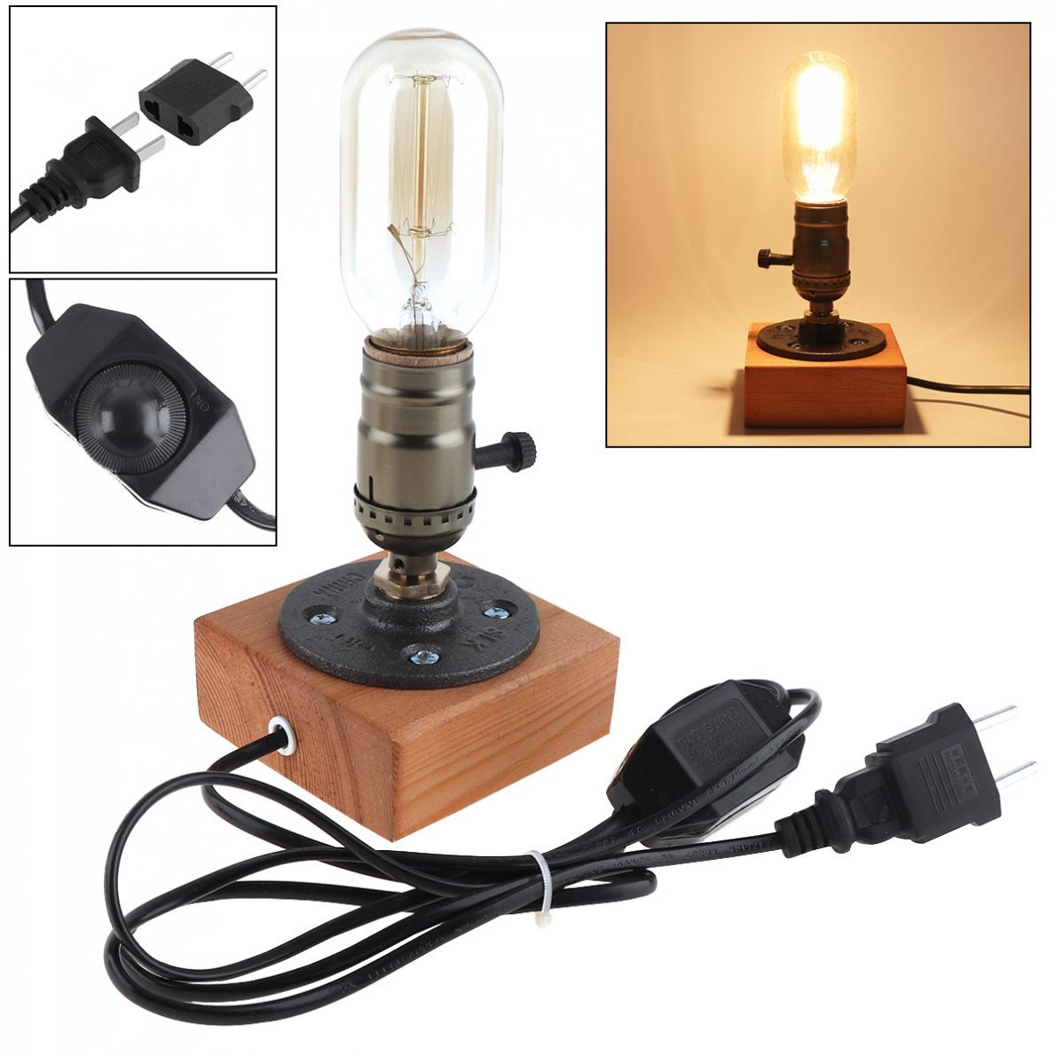 Retro Style Vintage Industrial Single Socket Table Bedside Desk Lamp Wooden Base Creative Edison Light Bulb