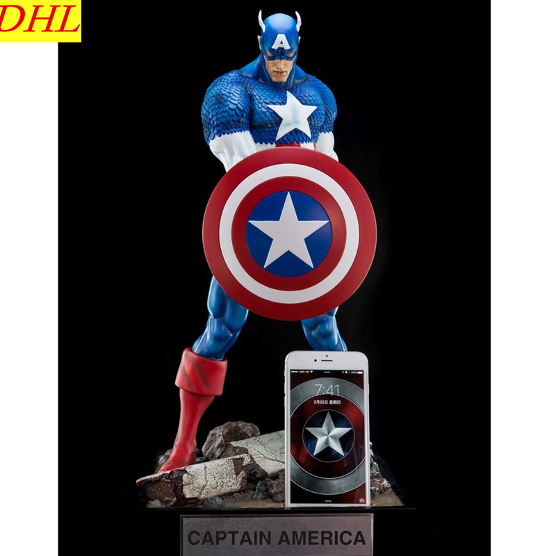 Avengers 3 Captain America Charge Statue Superhero Steve Rogers Anime Resin Action Figure Collectible Model Toy L2221