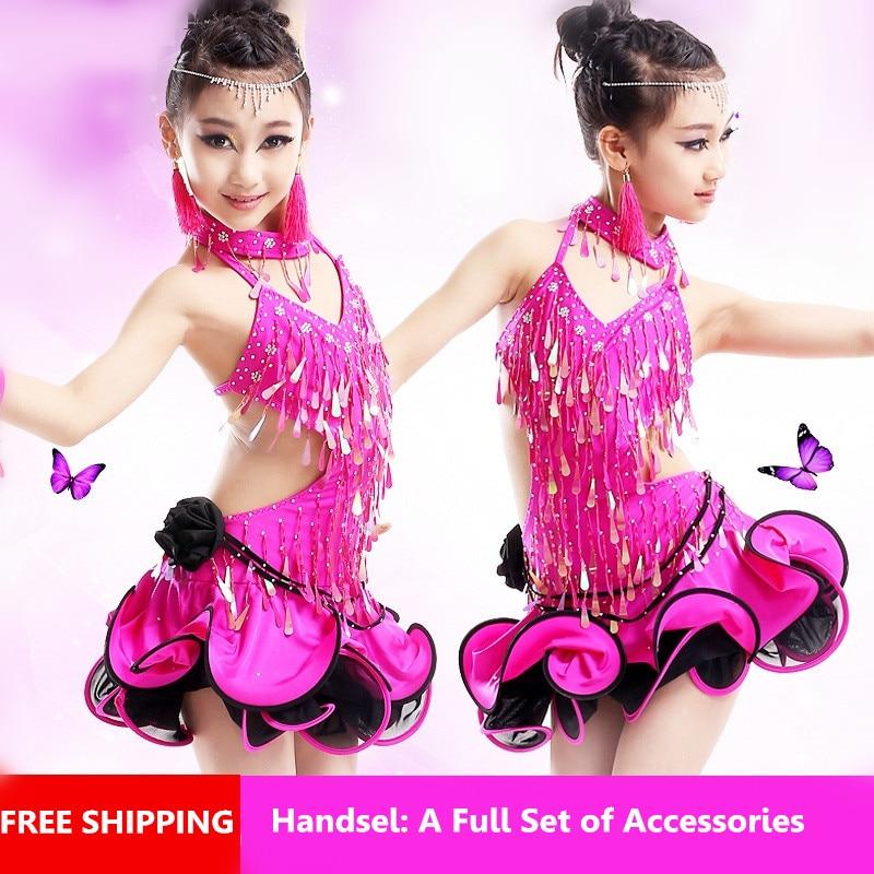 children rumba sumba modern dance skirt girls fashion sequined tassels latin dance performance