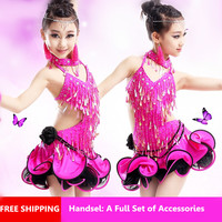 Children Dance Skirt Costume Girls Children Latin Dance Performance Performance Competition Fashion Sequined Tassels