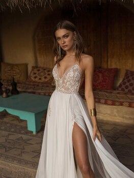 Verngo Boho Wedding Dress Sexy Side Slit Beach Wedding Dress V-Neck Bride Dress Spaghetti Straps Weeding Gowns Vestido De Noiva 3