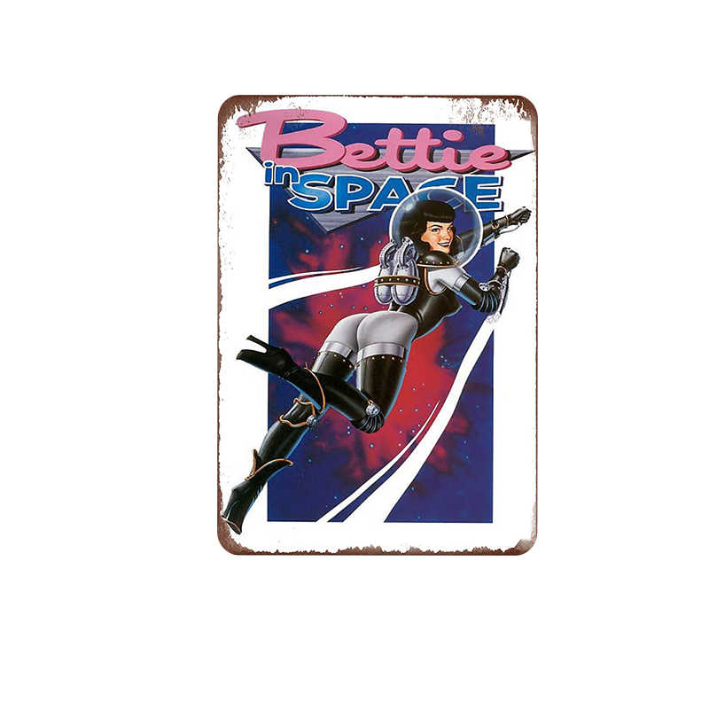 Сексуальная девушка вывеска рекламный постер потертый шик винтажная металлическая живопись Настенная машина жесть пластина металлическая Оловянная вывеска настенная железная художественная тарелка