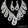 Mulheres de casamento festa Nupcial de cristal Strass colar brincos conjuntos de Jóias nova 1HC1