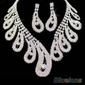 women wedding Bridal party Rhinestone crystal necklace earrings Jewelry sets new  1HC1