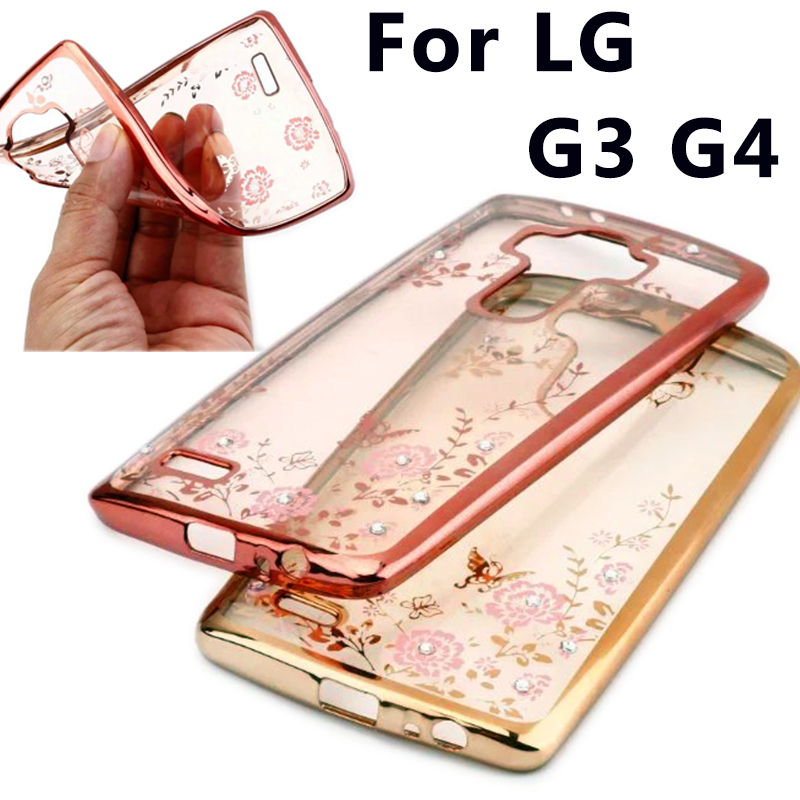 "Kasus untuk LG G3 D855 D850 D851 / LG G4 H815 H818 5.5 ""Secret Garden Plating bingkai kasus, Berlian gemerlap tipis kasus penutup belakang"