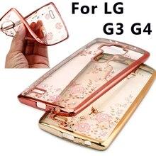 """Case For LG G3 D855 D850 D851 / LG G4 H815 H818 5.5"""" Secret Garden Plating Frame Case Diamond Glitter Thin Back Cover Case"""
