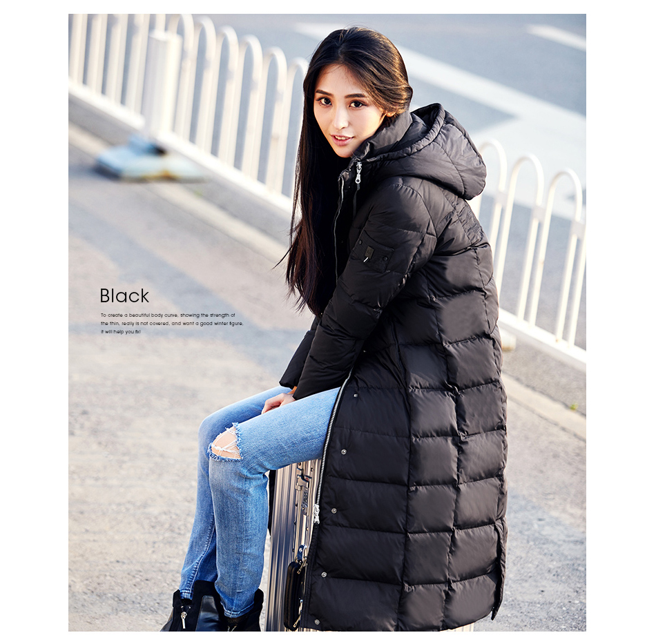 Misun2017 new autumn winter solid color slim thermal thickening with a hood over-the-knee ultra long   down     coat   femaleMSD-P7074