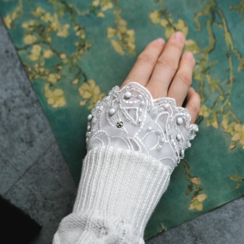 100% QualitäT Miara. L Neue Version Von Spitze Navy Wind Falten Hand Schüssel Set Spitze Frauen Gestrickte Pullover Handschuhe Gefälschte ärmeln