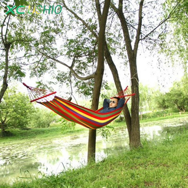 Camp Sleeping Gear 190*80cm Colorful Canvas Fabric Camping Hammock Garden Camping Swing Hanging Bed Outdoor Furniture Hamacas De Dormir Ramak At Any Cost