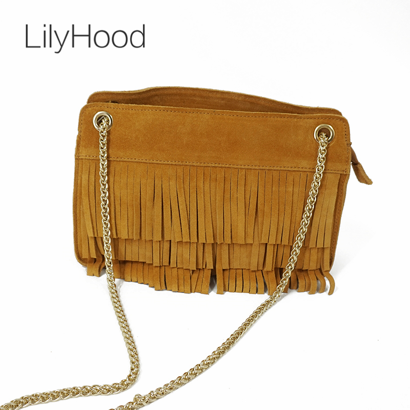LilyHood 2018 Women Fashion Genuine Leather Shoulder Bag Lady Fringed Tassel Suede Feminine Small Chain Green