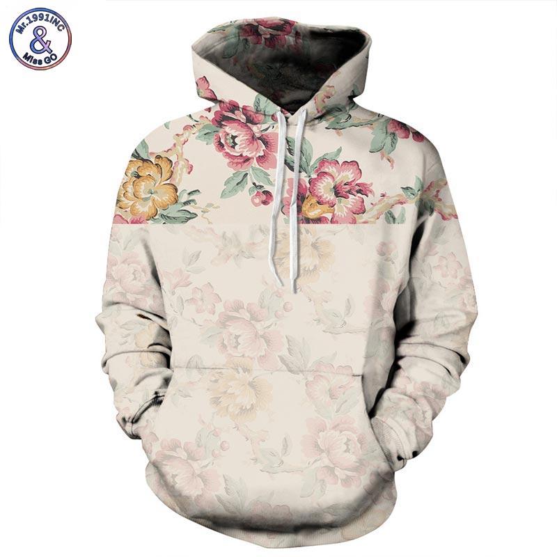 Mr.1991INC Blumen Hoodies Männer/Frauen 3d Sweatshirts Digitaldruck Rosa Rosen Floral Kapuzen Hoodies Marke Hoody Tops