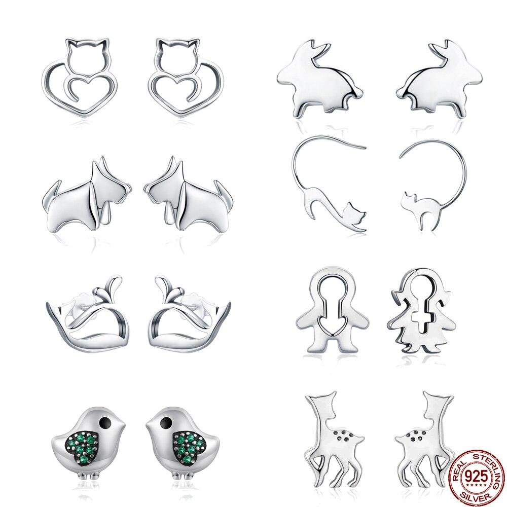925 Sterling Silver Stud Earrings for Women Animal Dog Cat Bird Couple Rabbit Dolphin Fashion Women Earrings 2018 Jewelry