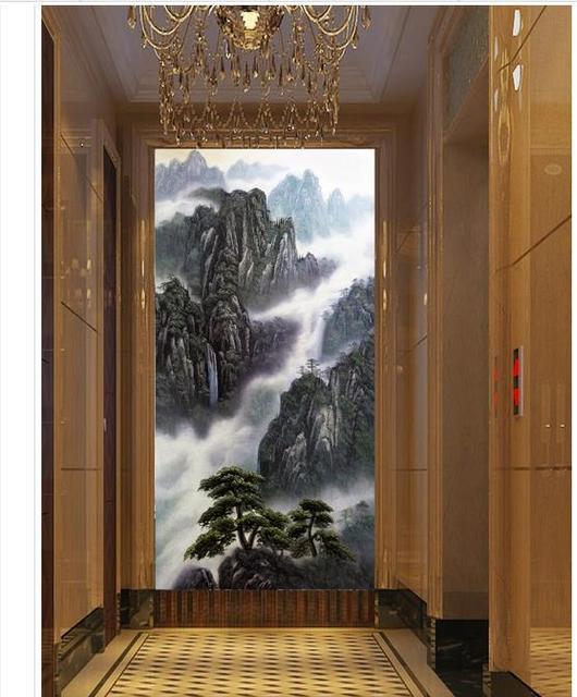 Custom 3d wallpaper for walls 3 d wall murals wallpaper Hd painting deep  mountain stream porch