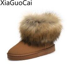 Winter Warm Frosted Fox Women Snow Boots Velvet Cotton Suede