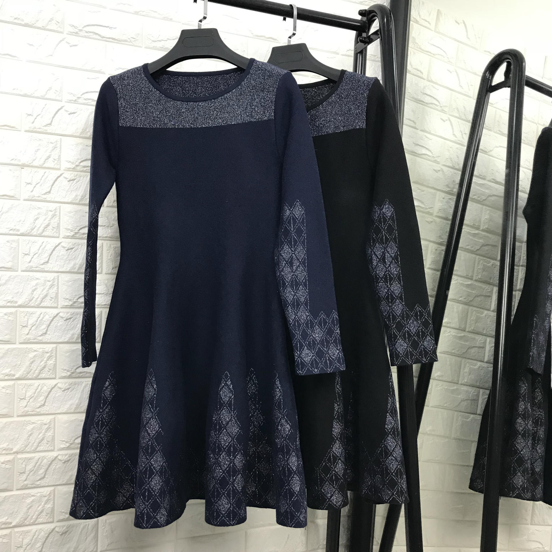 New 2018 spring autumn women fashion wool knit sweater dress long sleeve floral jacquard fit and flare elegant sexy dresses blue