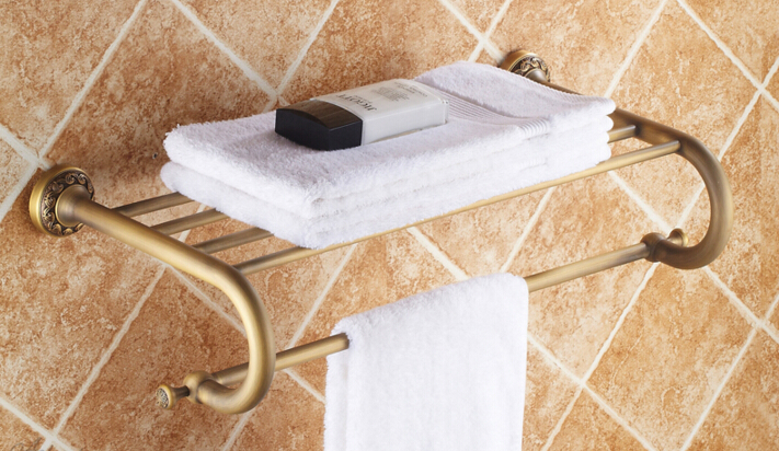 2016 fashion High quality wall mount Europe style total brass Bathroom towel rack hotel towel rack towel shelves fashion europe style high quality total