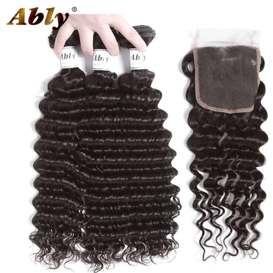 Ably Malaysia Deep Wave Hair 3 Bundles With Closure 100% Remy Human Weave Weft Hair Bundles With Closure Wavy Hair No Tangle