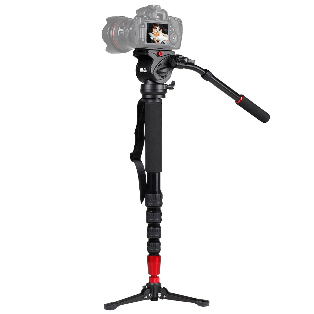 JIEWANG JY-0506 Алюминиевая профессиональная моноподная видеокамера для фотокамеры с штативом для переноски головного телефона Бесплатная доста...