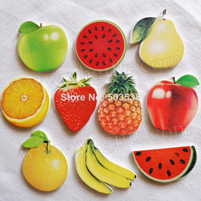 500PCS/LOT.Wood 10 design fruit stickers,Creative wall stickers,Home decoration,Fridge stickers,Summer crafts,On stock.Wholesale