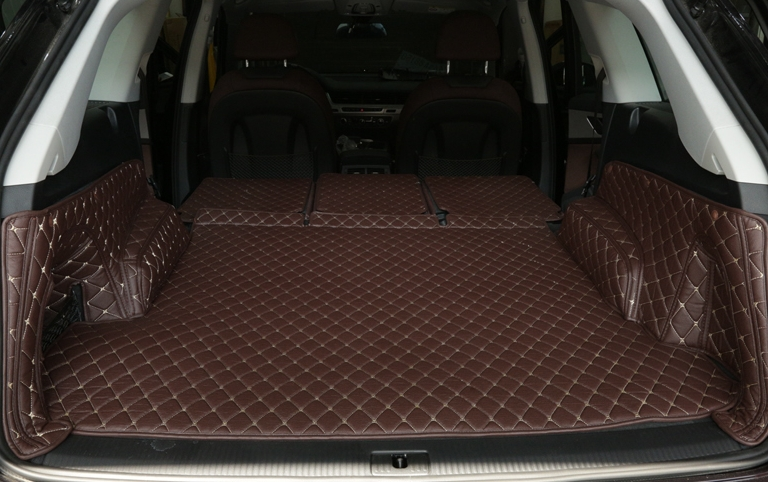 High quality special Full set car trunk mats for Audi Q7 2017 5 seats waterproof cargo