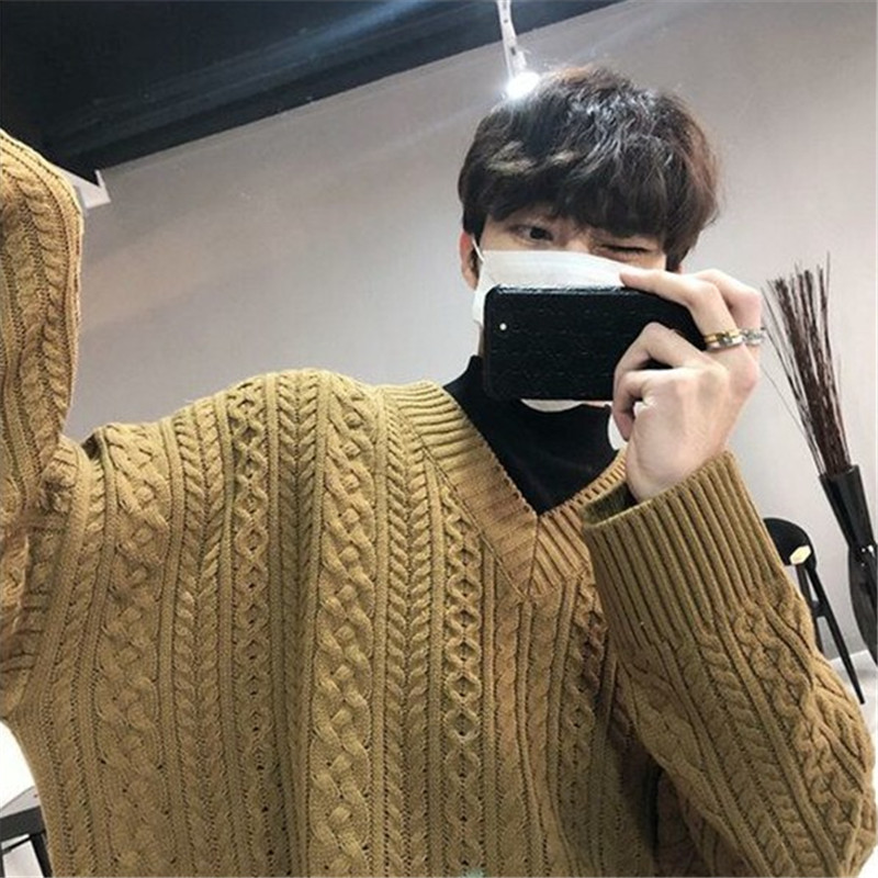 Winter Men s New Simple Solid Color Loose Warm Casual Business Long sleeved Sweater Youth Temperament