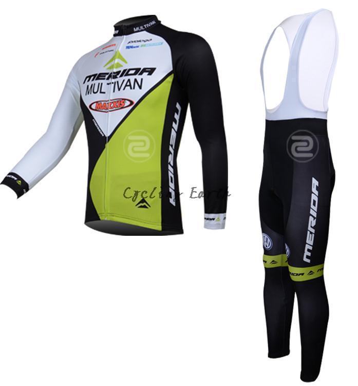 Merida 2014 #3 long sleeve autumn cycling wear clothes bicycle Breathable Ropa Ciclismo jersey bib pants gel pad set M2014003 shengqi men s long sleeve cycling jersey pants set green black m