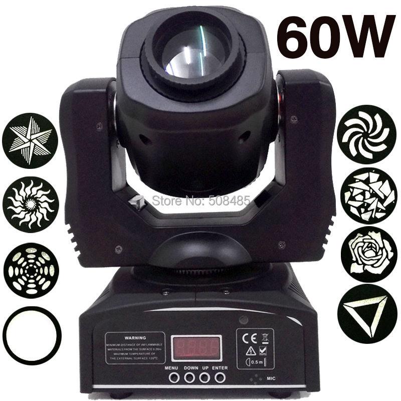 Мини месте 60 Вт светодиодный движущихся головного света с гобо плиты и Цвет пластина, высокая Яркость 60 Вт Мини светодиодный перемещение го
