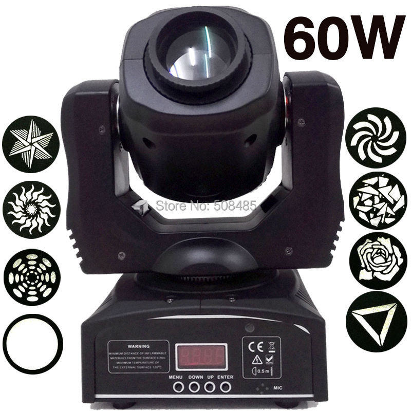 Мини точечный светодиодный светильник 60 Вт с подвижной головкой с пластиной Gobos и цветной пластиной, высокая яркость 60 Вт Мини светодиодный