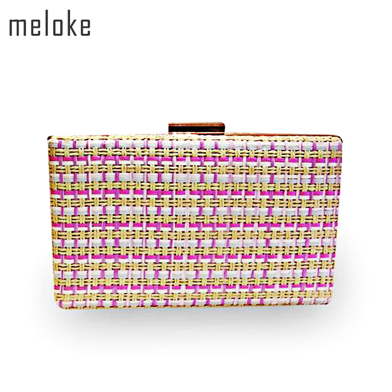 Meloke2018 hot weave colorful evening clutch bags fashion wedding party bags for girls clutch purse drop shipping MN754