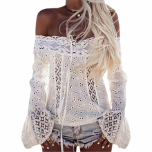 Hot Fashion ladies summer flare Long Sleeve Casual loose Off Shoulder slash neck hollow out Lace shirts Blouse tops