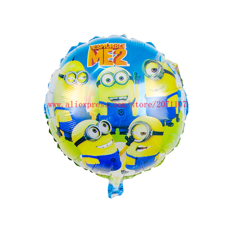 Minion Shaped Round Foil Balloon Stick Children Party Decoration Party Gift Pack