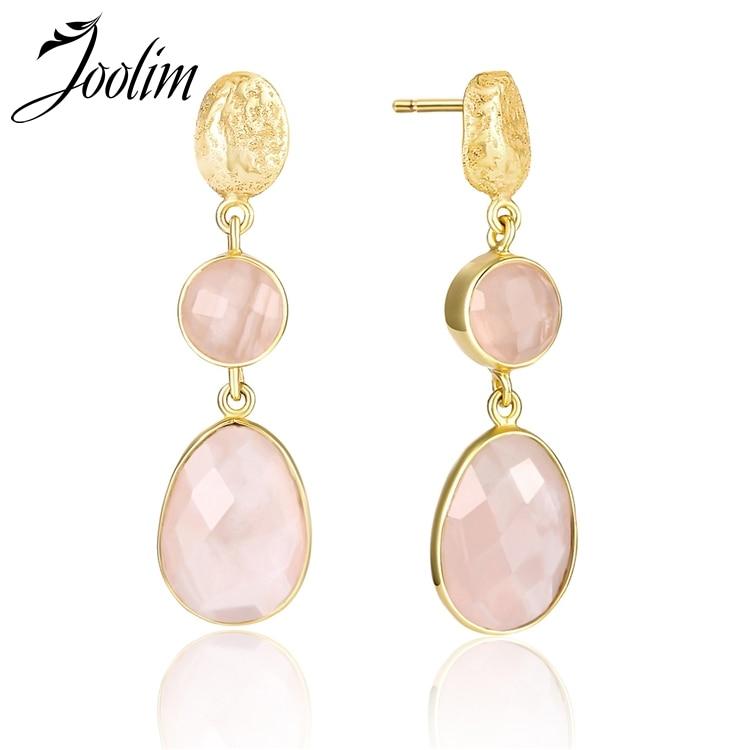 Joolim Pink Quartz Drop Earring 925 Sterling Silver Earring High End Designer Jewelry