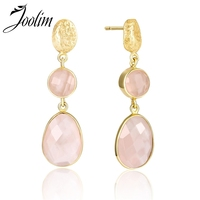 Joolim Pink Quartz Drop Earring 925 Sterling Silver Earring High End Designer Jewelry