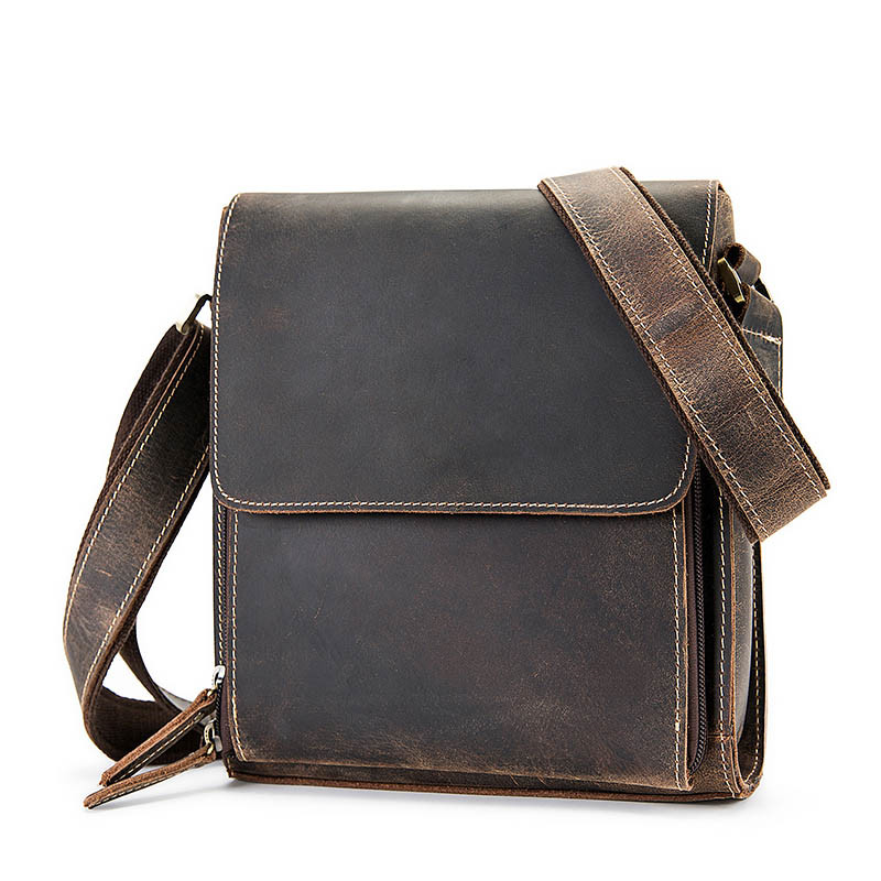 Male Genuine Leather Handbag Men Cowhide Messenger Shoulder Bag Men's Crazy Horse Crossbody Briefcase Travel Tote Small Flap Bag кронштейн kromax techno 5 до 35кг grey
