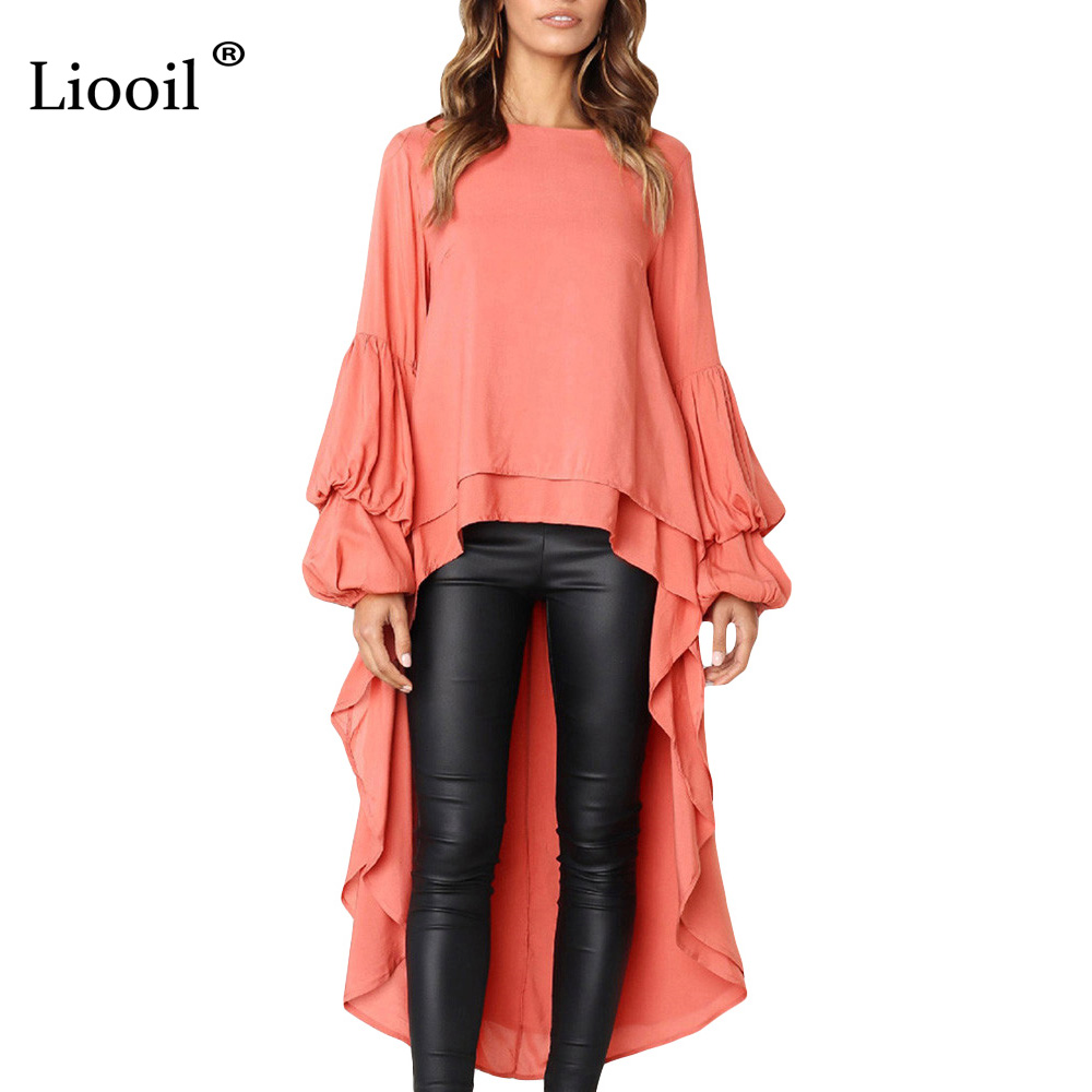 782d0f6ab6a8 Liooil Black Puff Sleeve Maxi Dress Women Clothes 2019 Spring O Neck  Asymmetrical High Low Hem