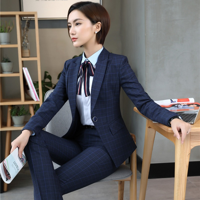 Fall Winter Uniform Designs Formal Fashion Grid Professional Business Work Wear Pantsuits Pants Suits Sets Plus Size