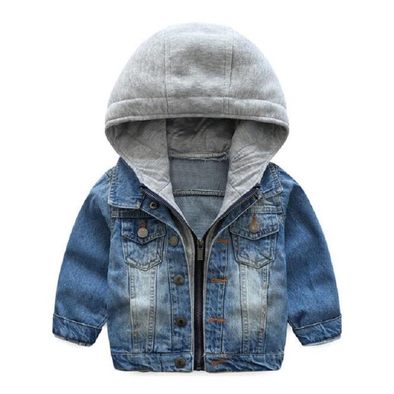 2018 Kids Denim Jacket Boys Jean Coat Clothing Fashion Causal Girls Cardigan Children Outerwear Cowboy Toddler Hooded 2-10yrs