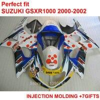 Tanie wtryskiwania fairing zestaw do Suzuki GSXR1000 2000 2000 2001 2002 biały niebieski fairings GSXR1000 00 01 02 MY66