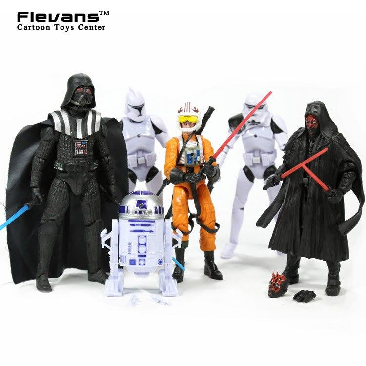 Star Wars Stormtrooper Darth Vader R2D2 PVC Action Figures Collectible Model Toys 6pcs/set SWFG061 maikii star wars stormtrooper 16gb usb 2 0