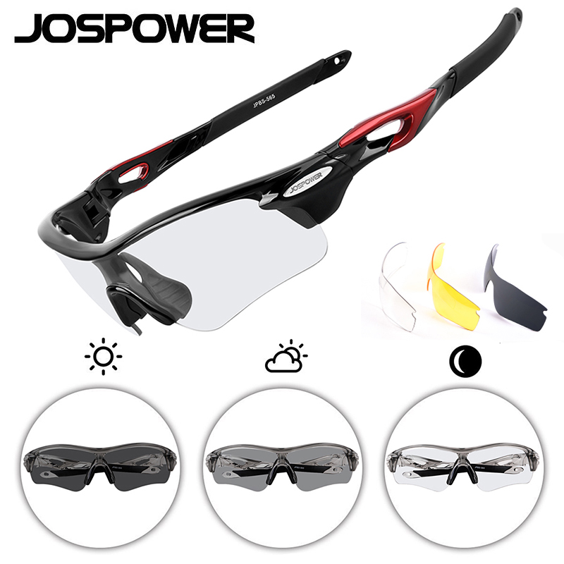 JOSPOWER Photochromic Cycling Glasses Sunglasses UV400 Polarized Bike Eyewear Goggles Outdoor Sports 3 Lens occhiali ciclismo 9801 outdoor sports cycling uv400 protection pc frame red revo lens sunglasses goggles black