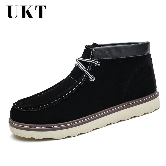 1d1f7ef40f2850 Autumn Winter Warm Boots Men Cow Suede Casual Work Safety Snow Shoes Velvet  Vintage Classic Male Ankle Boots Thick Sole Footwear