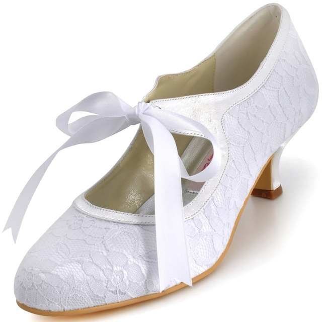 A3039-2 White Ivory Women Shoes Ribbons Low Heels Mary-jane Party Pumps Lady  Satin Lace Wedding Bridal Shoes 25b388b80e84
