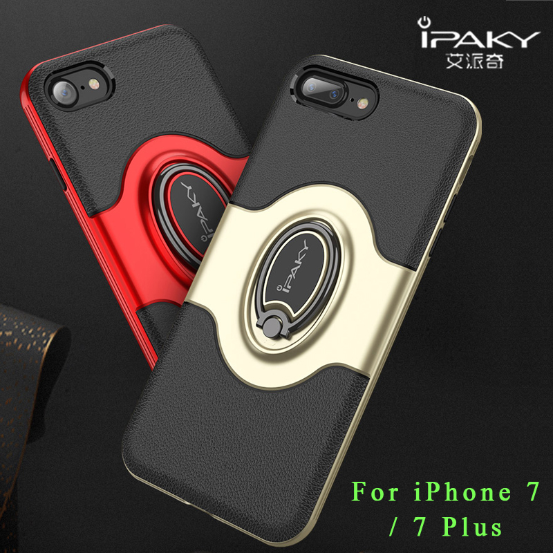iPaky Coque For iPhone 7 Case Silicone Ring holder Stand Case For iPhone 8 8 Plus Case PU Leather Cover For iPhone 7 Plus Cases