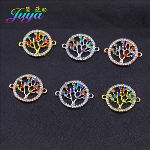 Juya DIY Birthstone Color Life Tree Charms Evil Eye Connectors For Bracelets Making Handmade Enamel Jewelry Findings