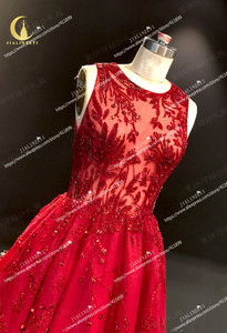 Image 3 - JIALINZEYI จริงภาพใหม่ล่าสุดไวน์แดงคริสตัลลูกปัดข้อเท้าความยาว A   Line Prom Dresses Party Dresses 2019